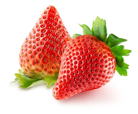 strawberries isolated on a white background.