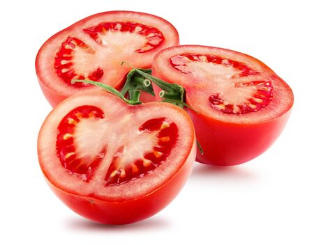 tomato halves isolated on a white background.