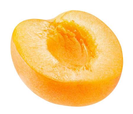 half of apricot isolated on a white background. Archivio Fotografico