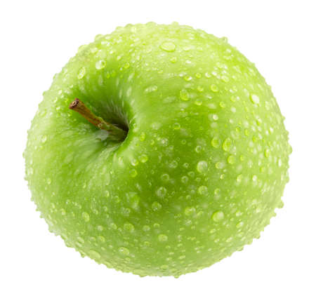 green apple with water drops isolated on a white background. Standard-Bild