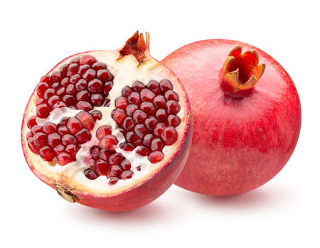 pomegranate with half of pomegranate isolated on a white background. Standard-Bild