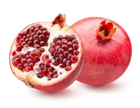 pomegranate with half of pomegranate isolated on a white background. Reklamní fotografie