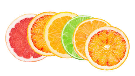 mix of citrus slices isolated on a white background.