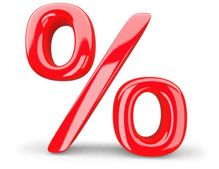 red percent symbol on a white background, 3d rendering.