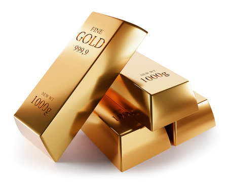 gold bars isolated on a white background, 3D rendering. Imagens