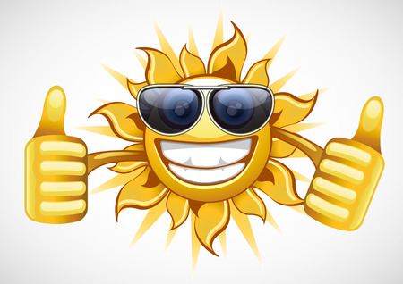 warm up: One happy sun with glasses smiling