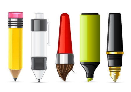 tape marker: Five isolated stationery items for school