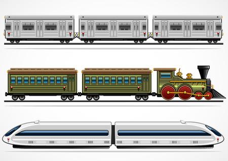 treno espresso: Tre ferrovia dettagliata trasporta da diverse et�