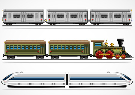 Trzy szczegółowe kolejowe transporty z różnych epok Ilustracje wektorowe