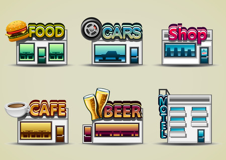 cartoony: Six cartoon buildings: food, cars, shop, cafe, beer, motel Illustration