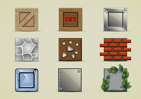 ice brick: Set of nine different boxes for creating simple game