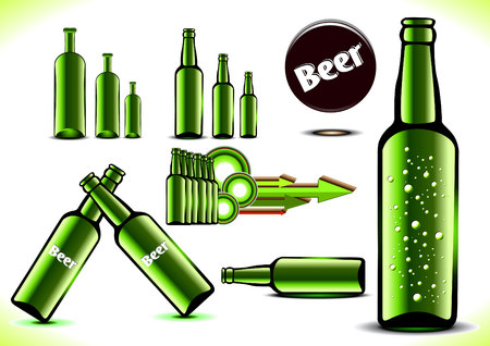 intoxicate: Green bottles of beer