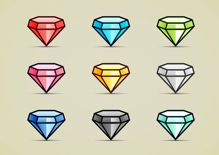 Nine colorful diamonds