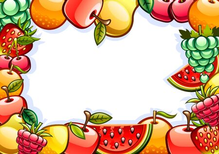 Background with fruits Vettoriali