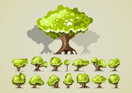 Set of trees for video games Stock Illustratie