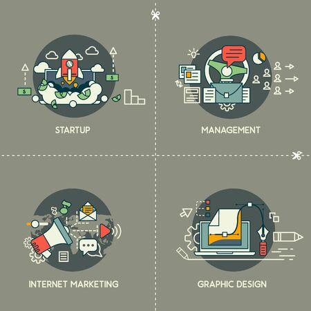 Startup, management, internet marketing, graphic design Illusztráció