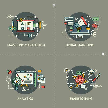 Marketing management, digital marketing, analytics, brainstorming