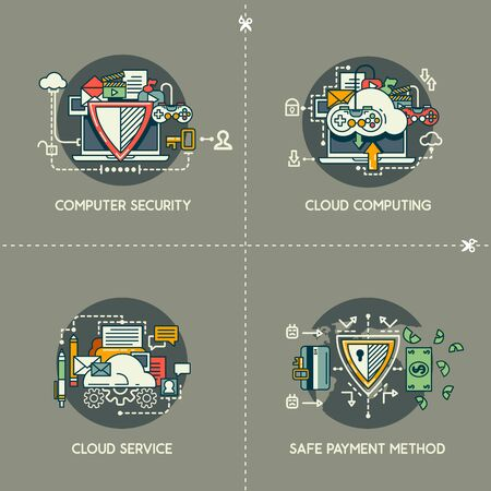 Computer security, cloud computing, cloud service, safe payment method 向量圖像