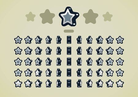 Silver animated stars for video games