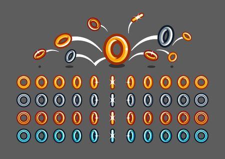 Animated rotating rings Vecteurs