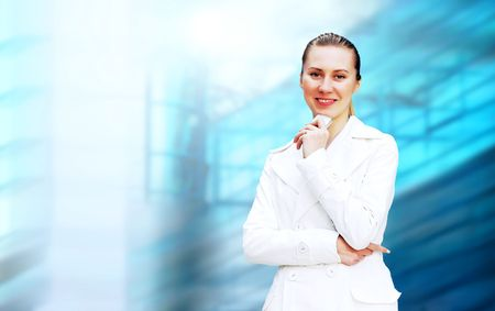 Happiness businesswoman on the business architecture background Stock Photo - 7673954