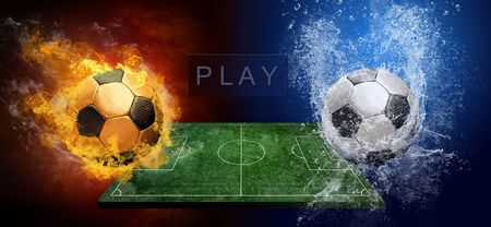 Water drops and fire flames around soccer ball on the background Stock Photo - 7739822