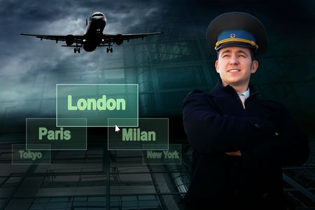 Pilot and airports citys on the button and plane Stock Photo - 7739790