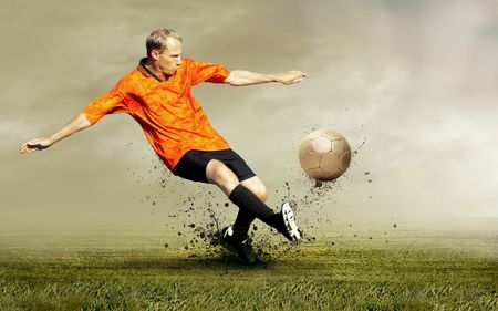 Shoot of football player on the outdoors field Stock Photo - 7768464