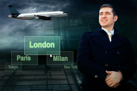 Businessman and airports citys on the button and plane photo