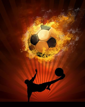 soccer players: Hot soccer ball on the speed in fires flame