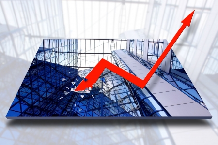 investors: Graph showing rise in profits or earnings  Stock Photo
