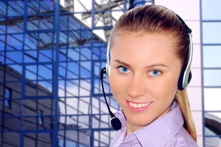 Happiness businesswoman calling on the business architecture background Stock Photo - 7768394
