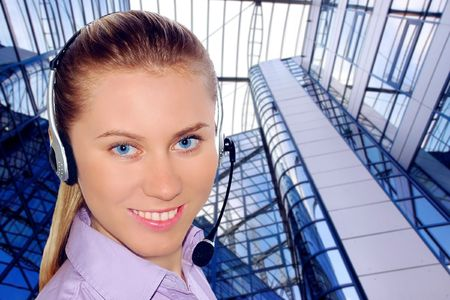 Happiness businesswoman calling on the business architecture background  photo