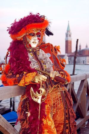 Portrait Beautiful karnavale masks in Venice, Italy  Stock Photo