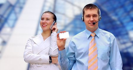Happiness businessmens call by phone  photo