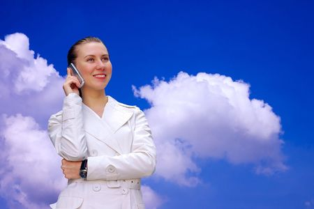 Happiness businesswomen call by phone  photo