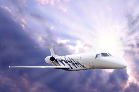 Airplane in air on blue sky Stock Photo - 7768819