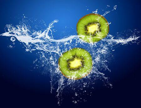 kiwi fruit: Water drops around kiwi on blue background