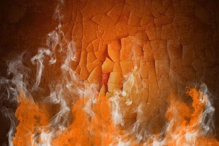 Fire and smoke on the orange background photo
