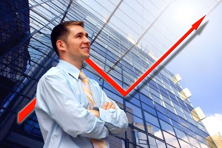 Happiness business men look on business architecture background photo