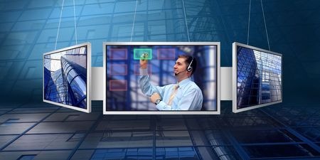 monitors with business architecture background  photo