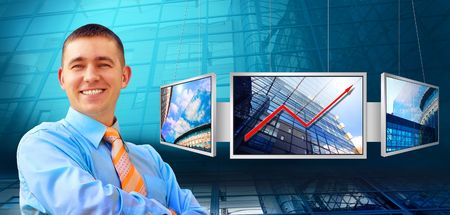 Businessmen and monitors with business architecture background photo