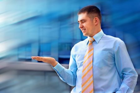 Happiness businessman on blur business architecture background photo