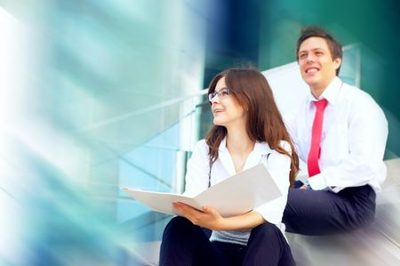 Happiness businessmans on business architecture background photo