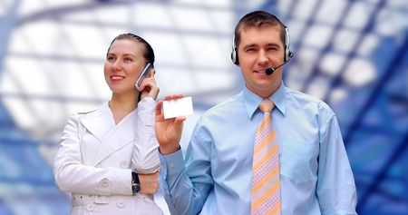 Happiness businessmens call by phone on business architecture background  photo