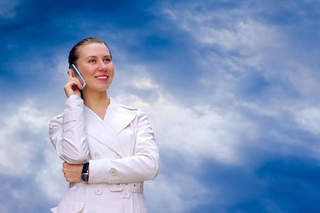 Happiness business-women call by phone  photo