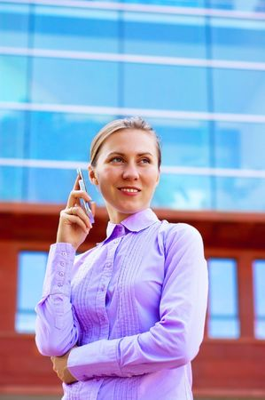 Happiness business women on business architecture background  photo
