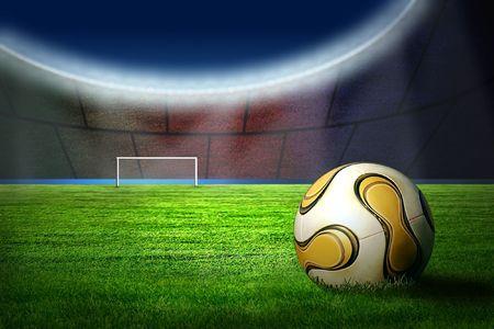 cancha deportiva futbol: Ball en el campo del estadio  Foto de archivo