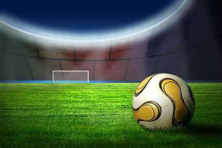 stadium soccer: Ball on the field of stadium