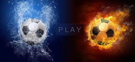 ball field: Water drops and fire flames around soccer ball on the background